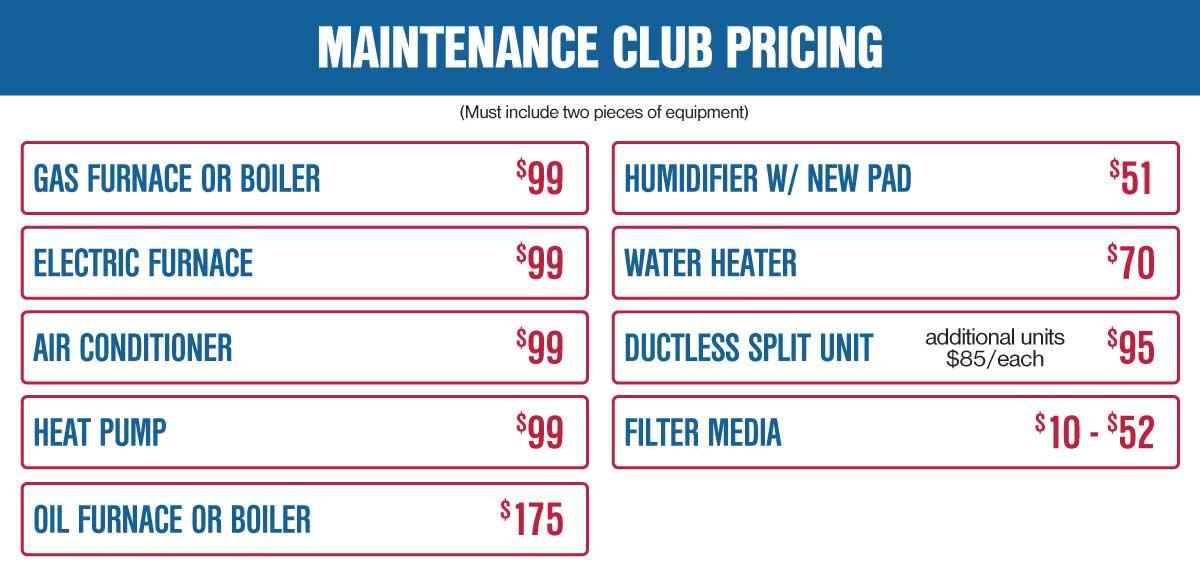 hvac maintenance club pricing